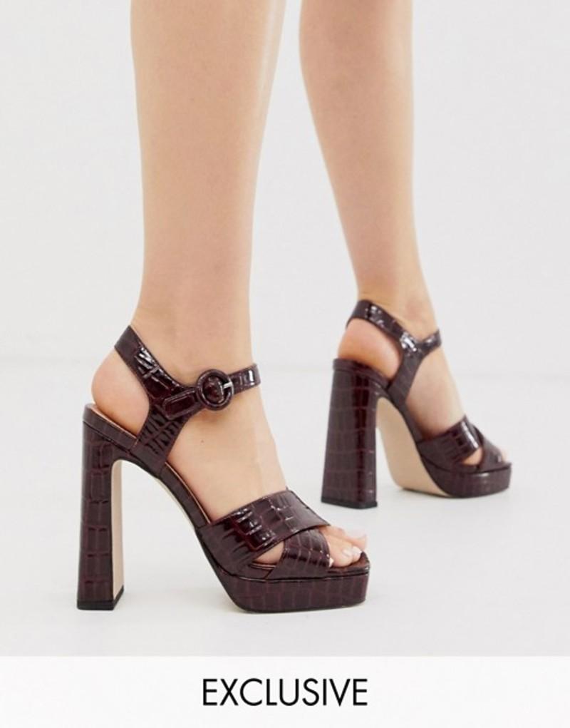 オフィス レディース ヒール シューズ Office Huda exclusive chocolate croc effect platform heeled sandals Croc croc pu