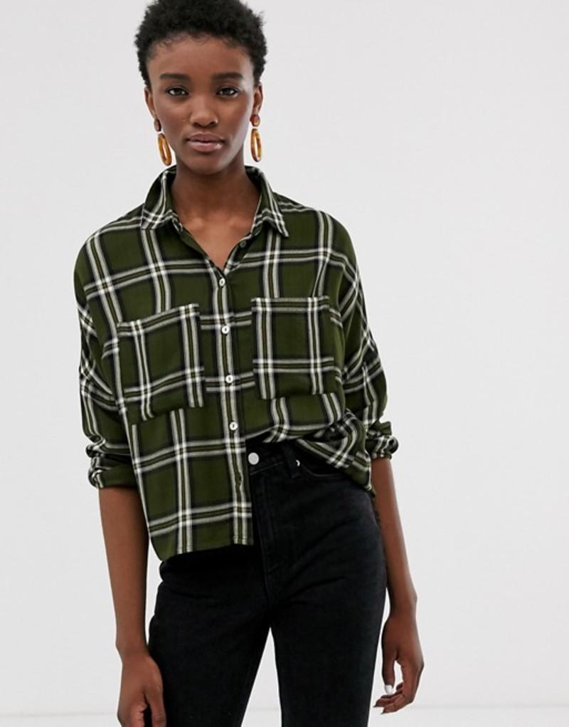 オンリー レディース シャツ トップス Only oversized check shirt Multi