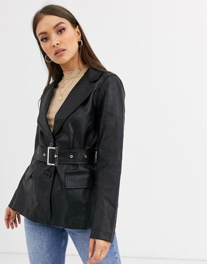 ネオンローズ レディース ジャケット・ブルゾン アウター Neon Rose belted blazer in faux leather Black