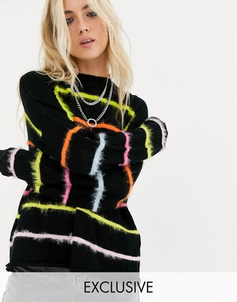 ザラグドプリースト レディース ニット・セーター アウター The Ragged Priest oversized knitted sweater with fluffy rainbow stripes Black