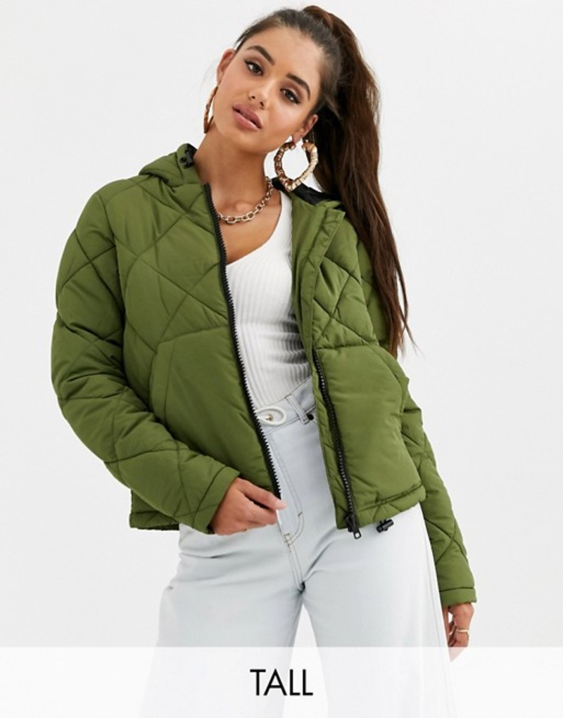 ノイジーメイトール レディース ジャケット・ブルゾン アウター Noisy May Tall grid padded hooded jacket Green