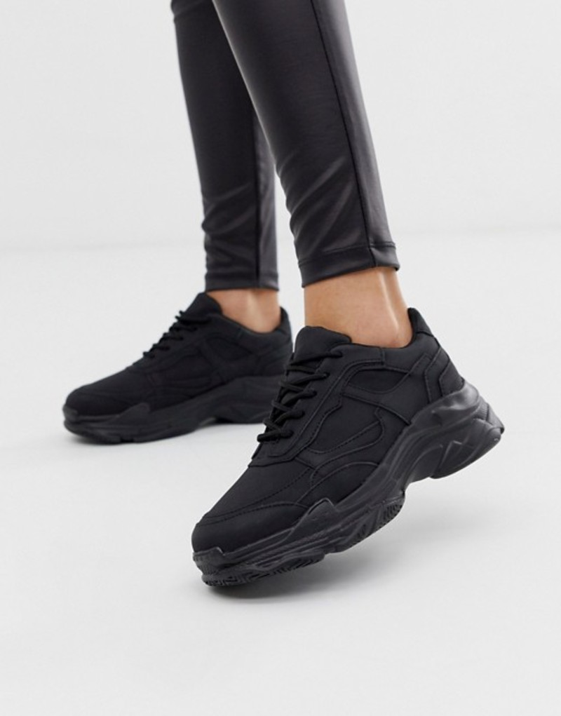 パブリックデザイア レディース スニーカー シューズ Public Desire Blend black color drenched chunky sneakers Black