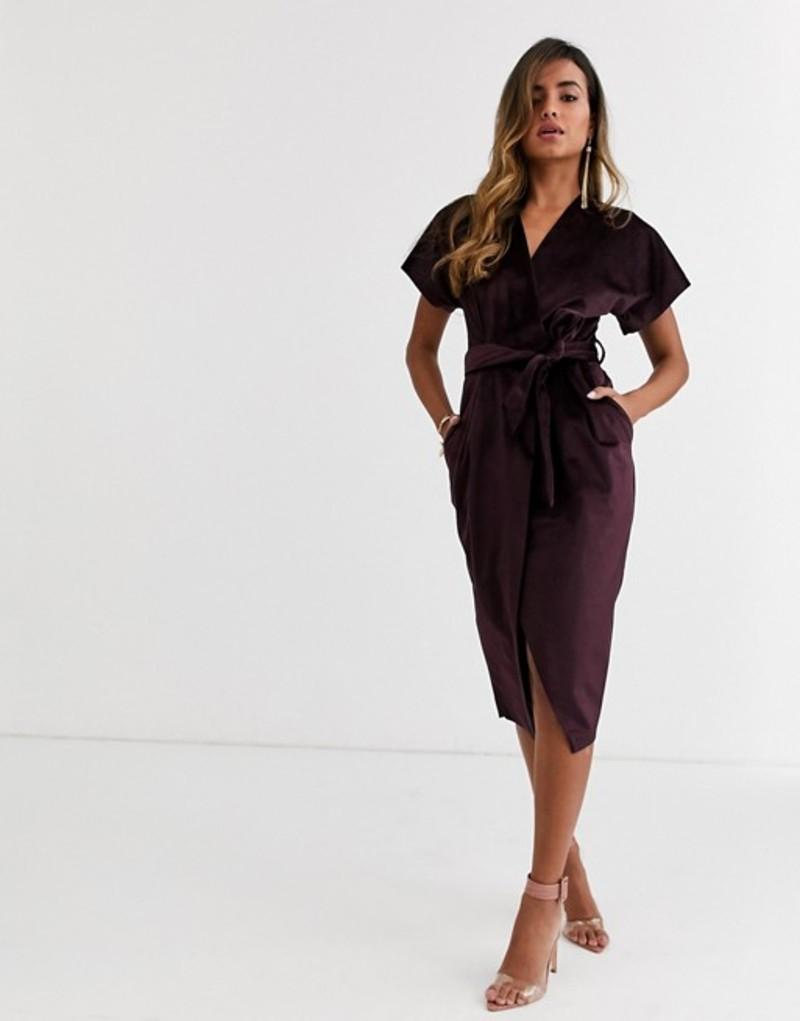 クローゼットロンドン レディース ワンピース トップス Closet London wrap tie velvet midi dress in plum Plum