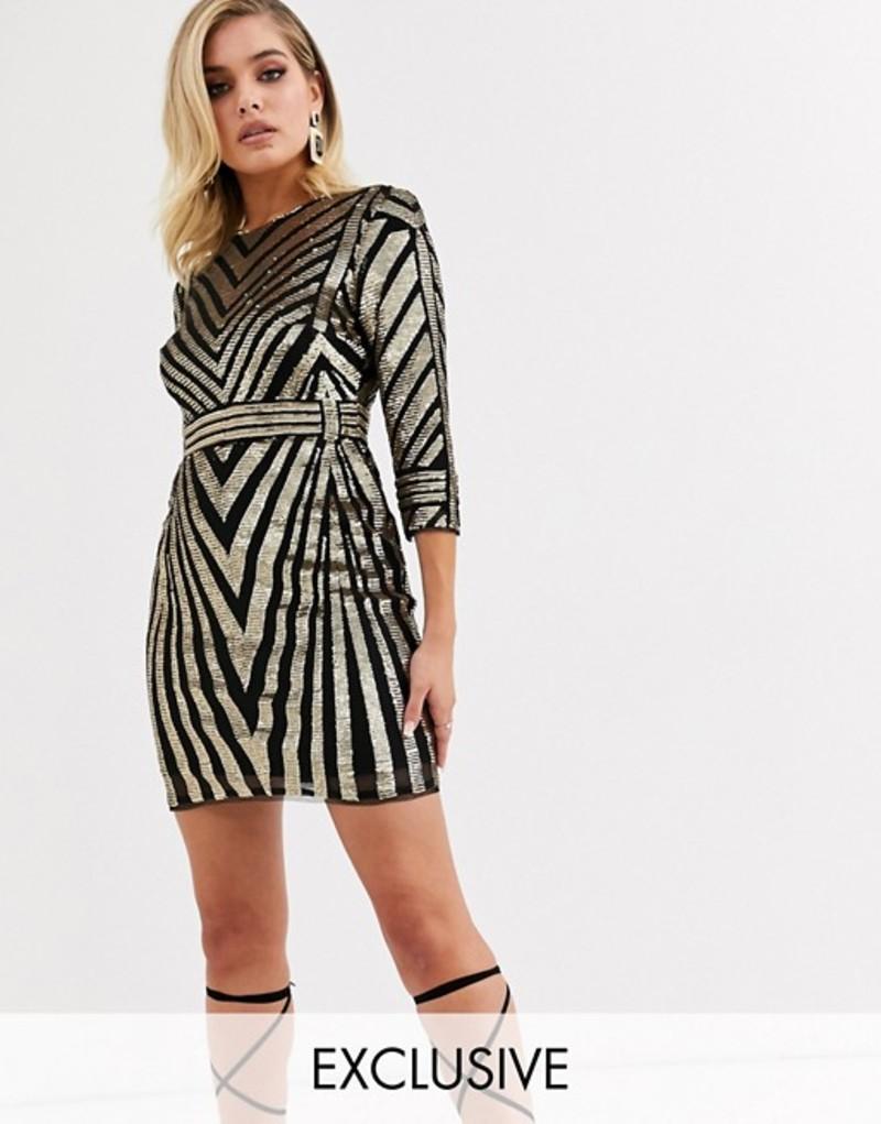 ティエフエヌシー レディース ワンピース トップス TFNC sequin mini dress in gold and black Gold/black