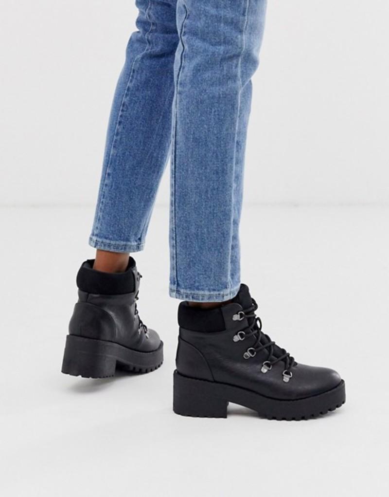 コールイットスプリング レディース ブーツ・レインブーツ シューズ Call It Spring by ALDO Hiker lace up chunky ankle boots in black Black
