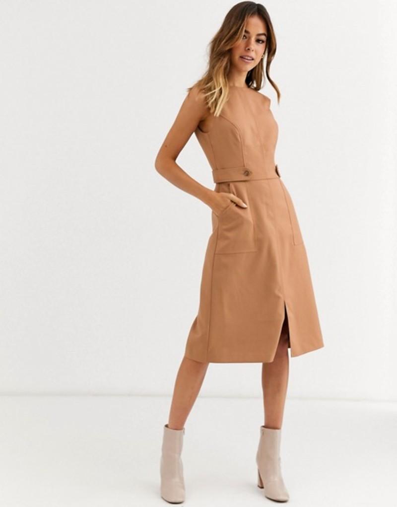 オアシス レディース ワンピース トップス Oasis utility midi dress in tan Mid neutral