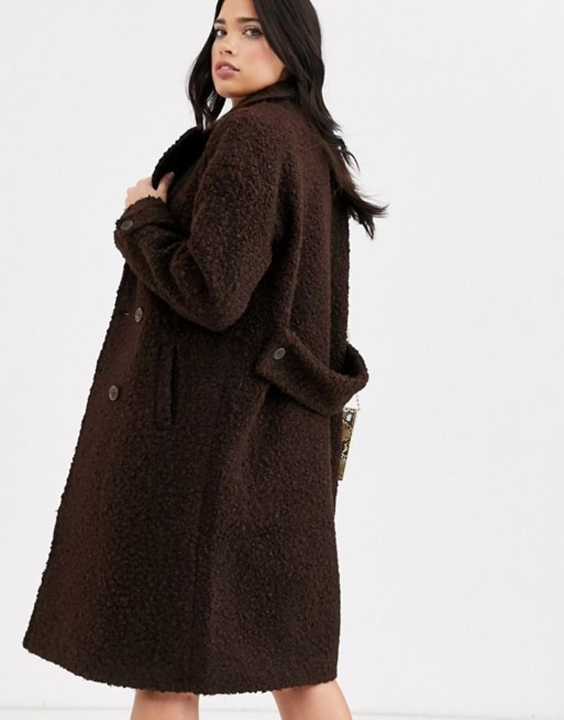 ファッションモンキー レディース コート アウター Fashion Union textured double breasted wool coat Chocolate