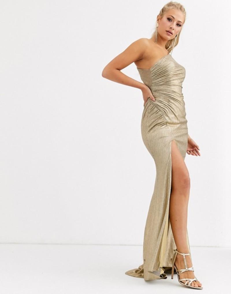 フォーエバーユニーク レディース ワンピース トップス Forever Unique one shoulder ruched maxi dress with thigh split in gold Gold