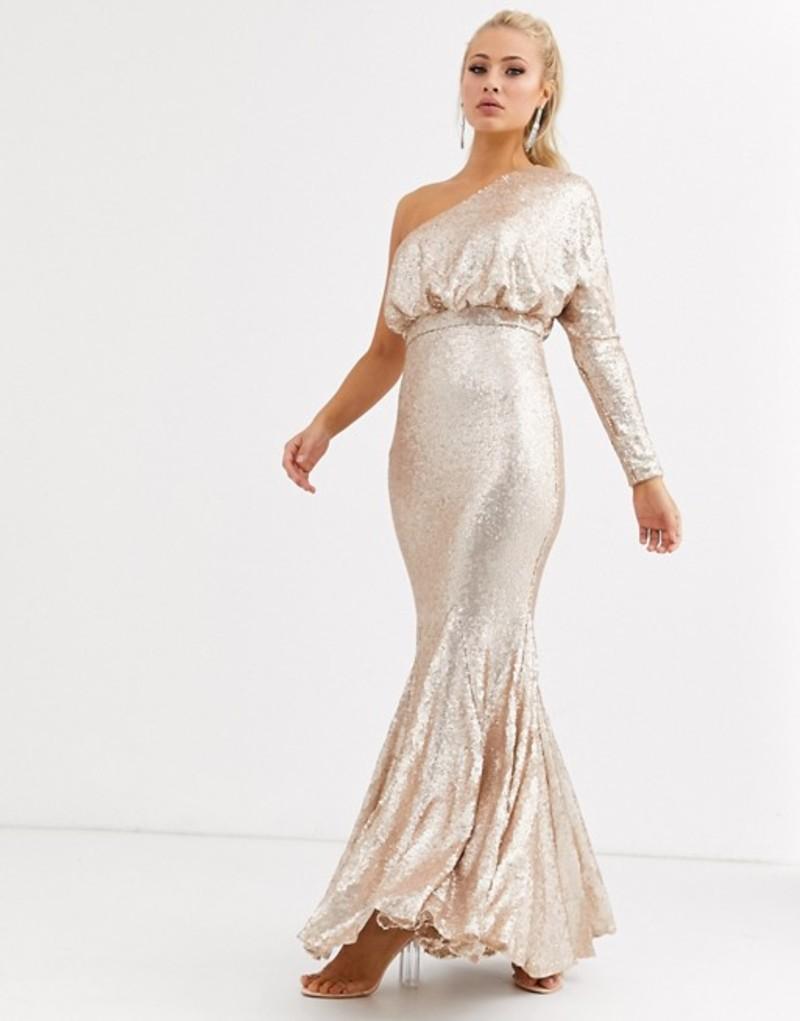 フォーエバーユニーク レディース ワンピース トップス Forever Unique one shoulder fishtail maxi dress in rose gold sequin Rose gold
