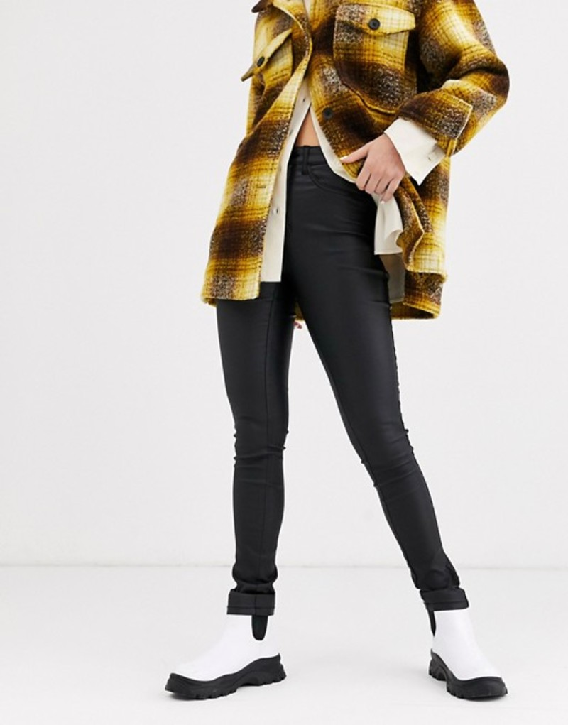 オンリー レディース デニムパンツ ボトムス Only coated skinny jeans Black