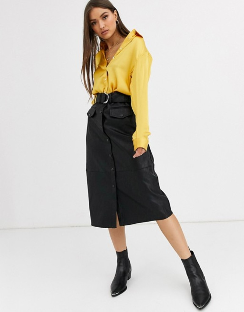 ネオンローズ レディース スカート ボトムス Neon Rose belted midi pencil skirt in faux leather Black