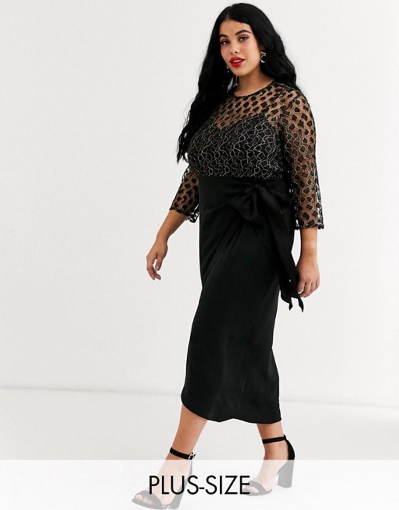 リトルミストレス レディース ワンピース トップス Little Mistress Plus wrap midi dress with tie front in black metallic lace Black