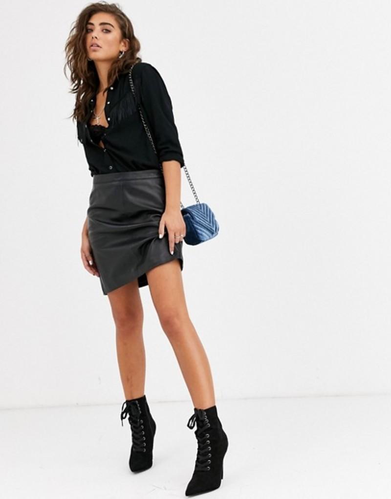 オブジェクト レディース スカート ボトムス Object leather mini skirt Black