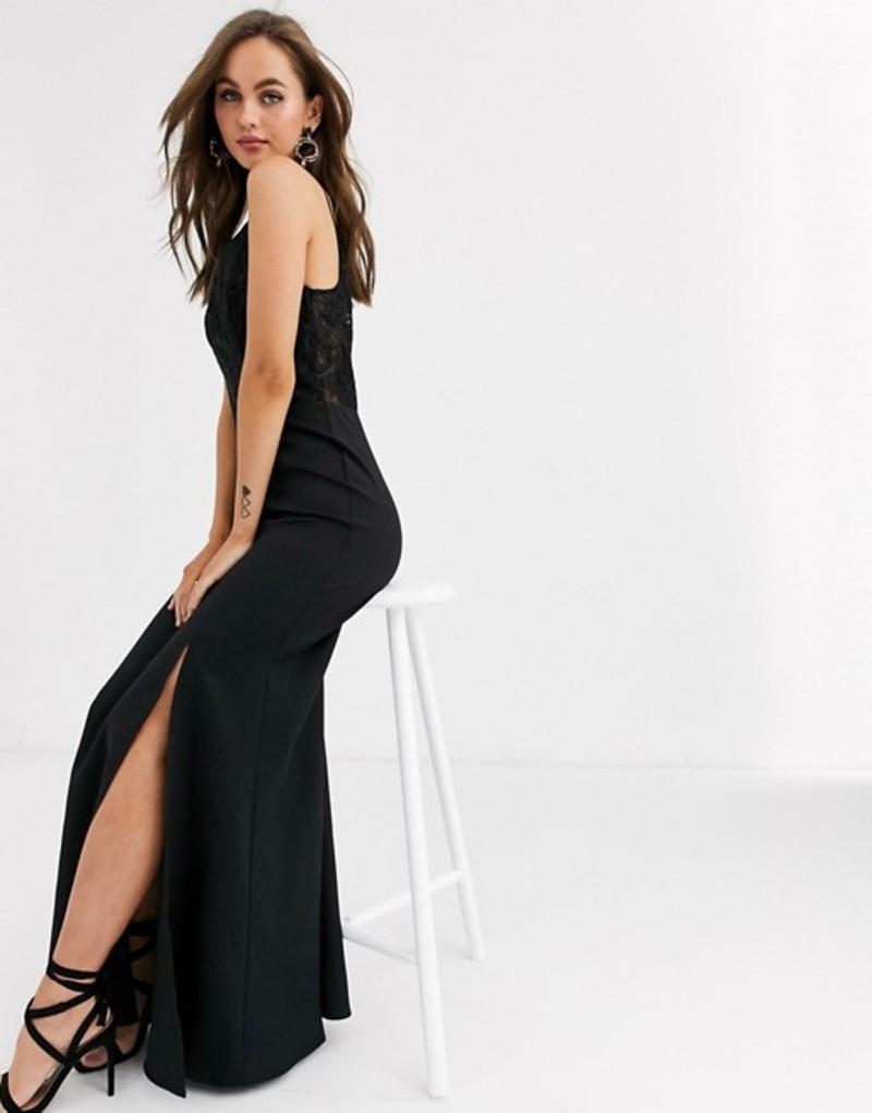 チチロンドン レディース ワンピース トップス Chi Chi London lace detail maxi dress with fishtail skirt in black Black