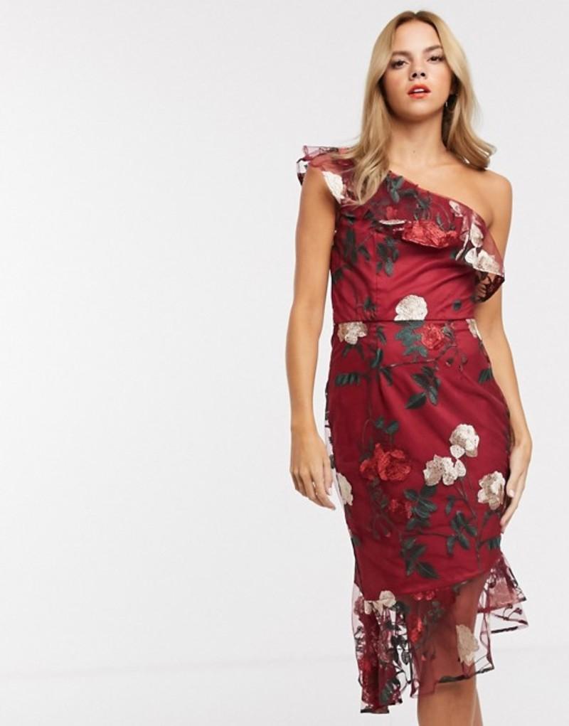 チチロンドン レディース ワンピース トップス Chi Chi London one shoulder midi dress in floral embroidery Multi