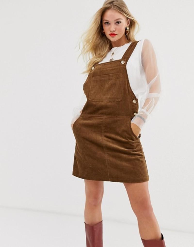 マンゴ レディース ワンピース トップス Mango cord pinny dress in brown Brown