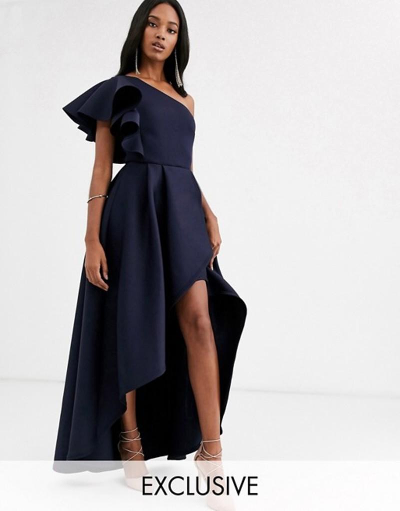 トゥルーバイオレット レディース ワンピース トップス True Violet frill one shoulder high low prom maxi dress in navy Navy