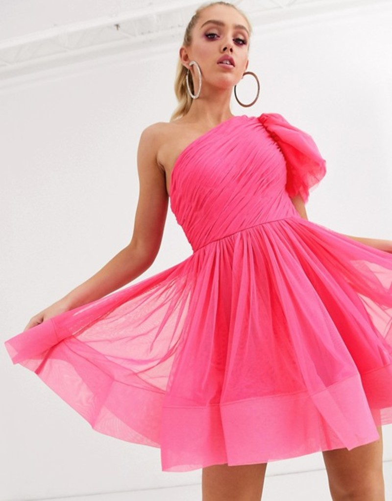 レース アンド ビーズ レディース ワンピース トップス Lace & Beads puff ball sleeve mini prom dress in neon pink Neon pink