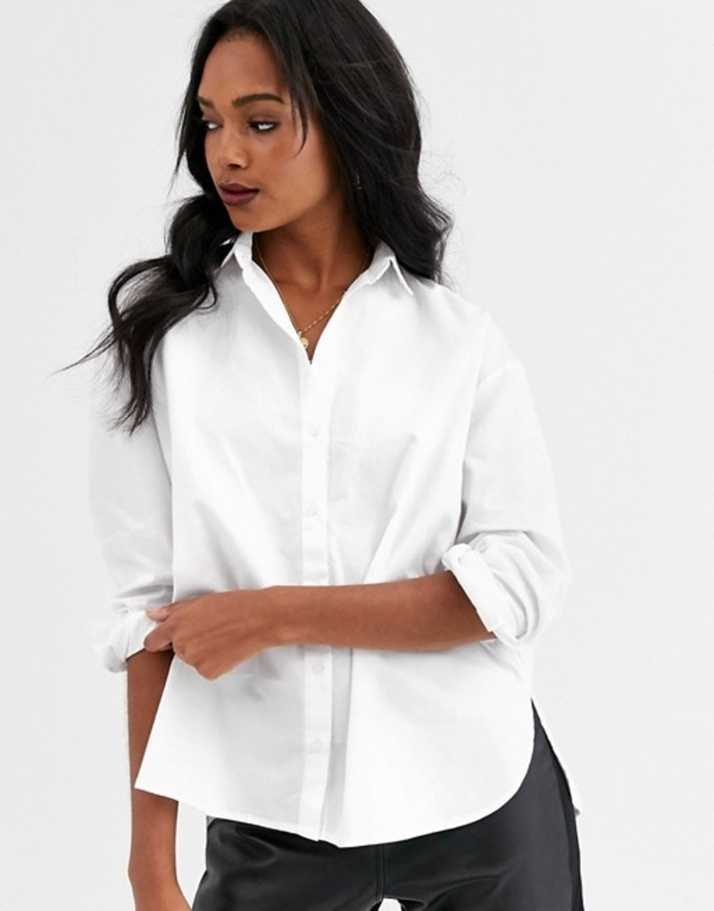 マンゴ レディース シャツ トップス Mango button front shirt in white White