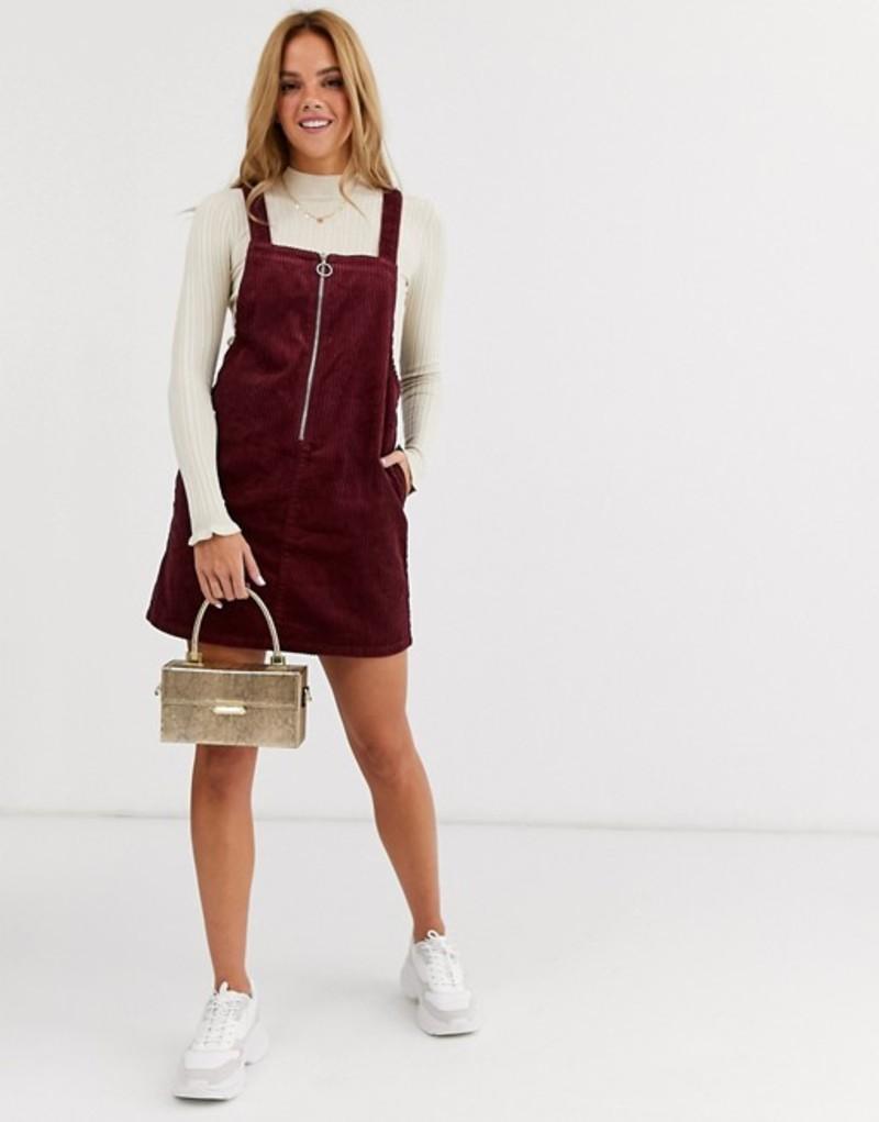 ミスセルフフリッジ レディース ワンピース トップス Miss Selfridge cord zip up pinny dress in burgundy Red