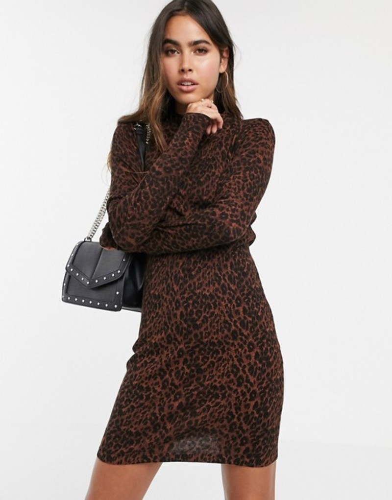 ウエアハウス レディース ワンピース トップス Warehouse knit bodycon dress in leopard print Chocolate pattern