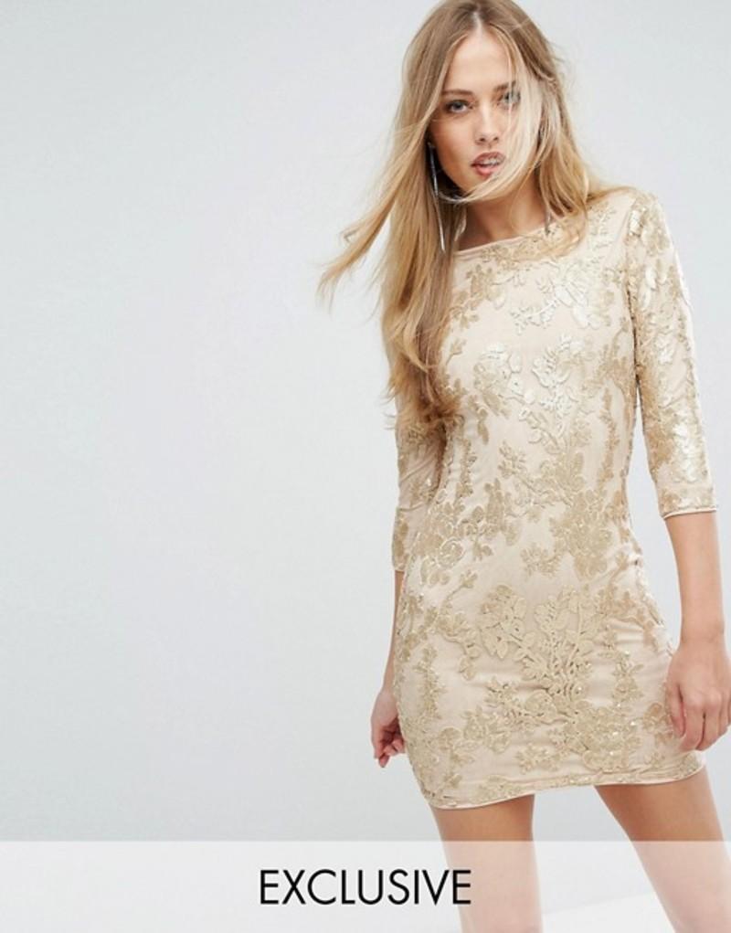 ティエフエヌシー レディース ワンピース トップス TFNC Mini 3/4 Length Sleeve Sequin Dress Gold