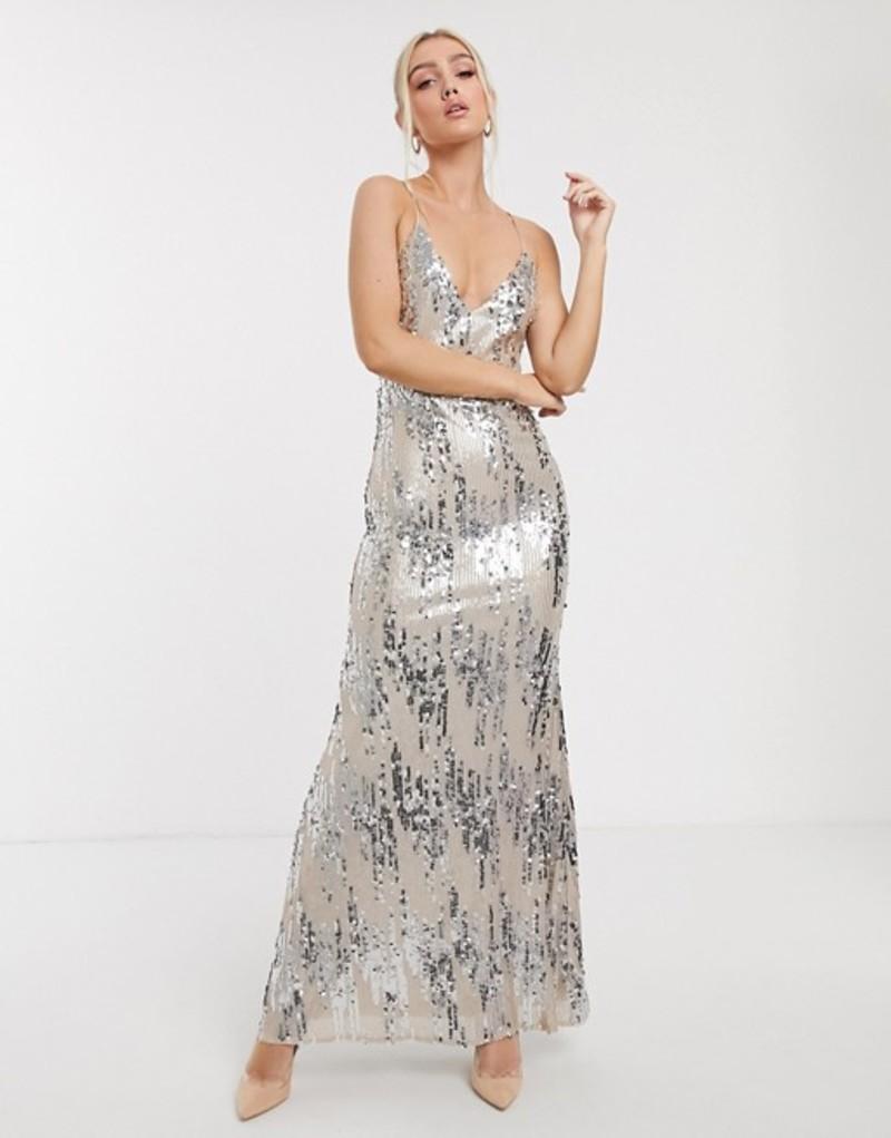 ゴッドディバ レディース ワンピース トップス Goddiva cami strap maxi dress in silver sequin Cream/silver