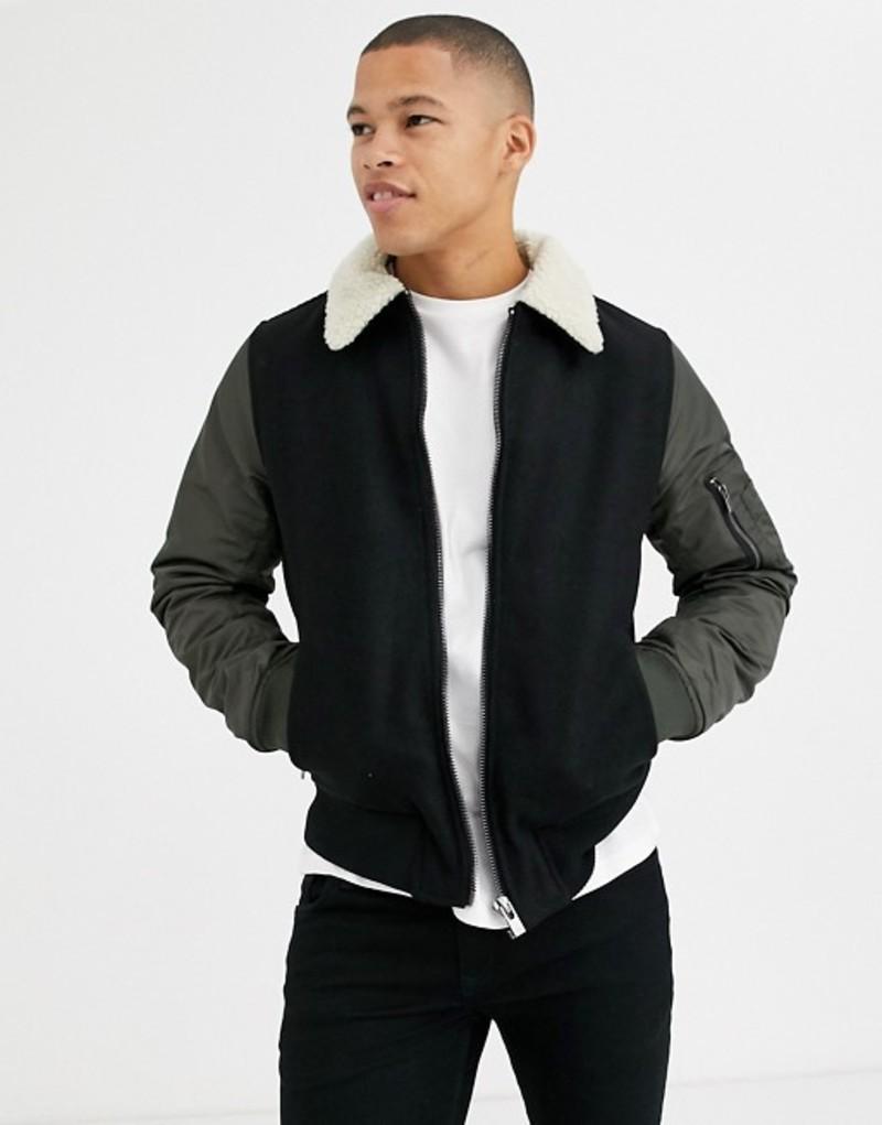 リバーアイランド メンズ コート アウター River Island jacket in khaki with fleece collar Green
