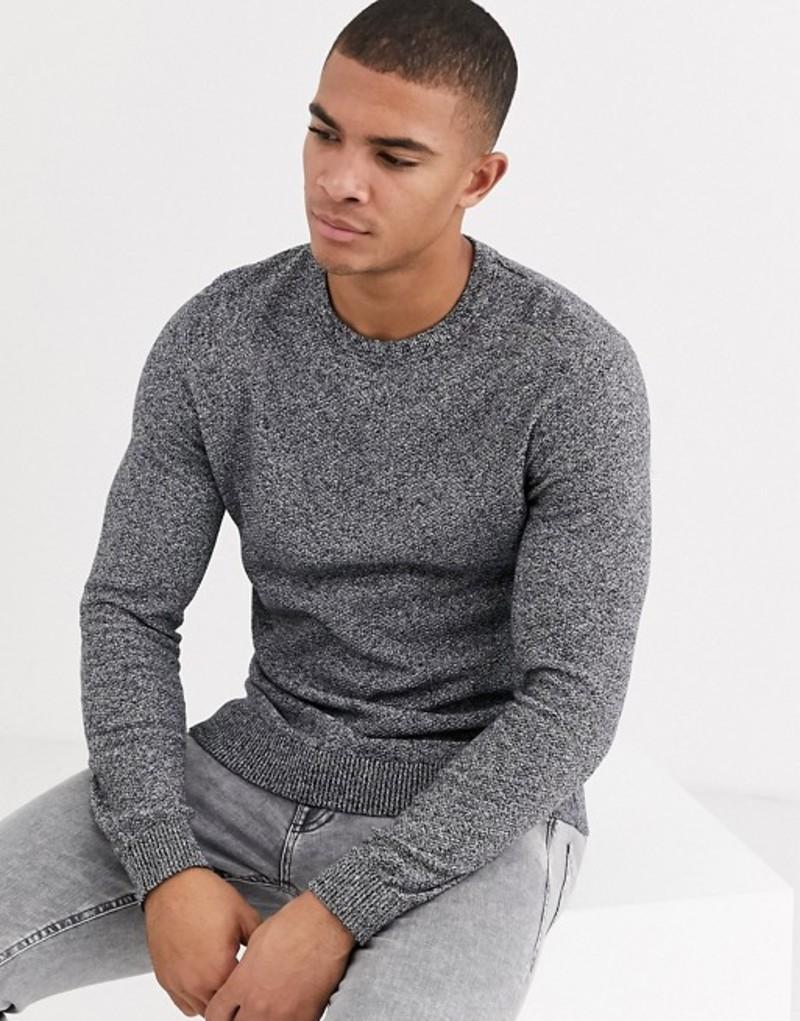 ジャック アンド ジョーンズ メンズ ニット・セーター アウター Jack & Jones Essentials structured knitted sweater in mixed yarn Jet stream