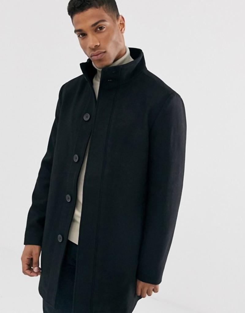 フレンチコネクション メンズ コート アウター French Connection wool blend funnel neck coat Black