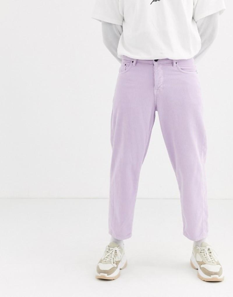 エイソス メンズ カジュアルパンツ ボトムス ASOS WHITE tapered cord pants in lilac Pastel lilac