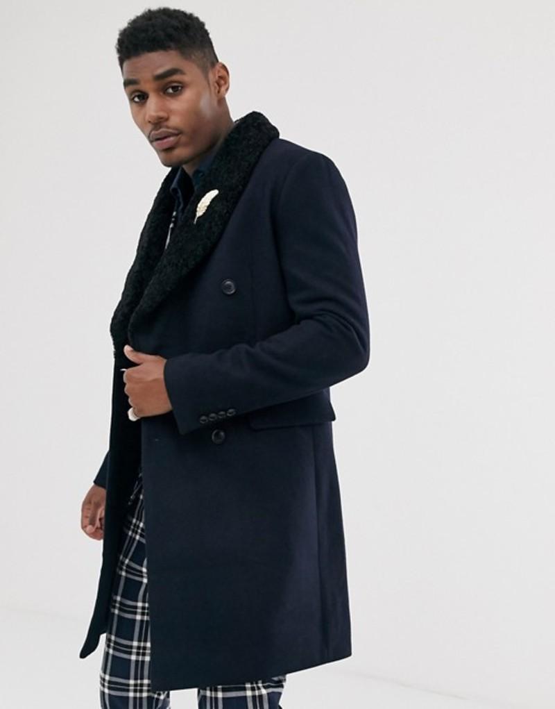 海外最新 デビルズ アドボケート Advocate Navy メンズ コート アウター removable Devils Advocate premium wool blend double breasted removable faux fur over coat Navy:ReVida 店, 箕面市:466717e3 --- nagari.or.id
