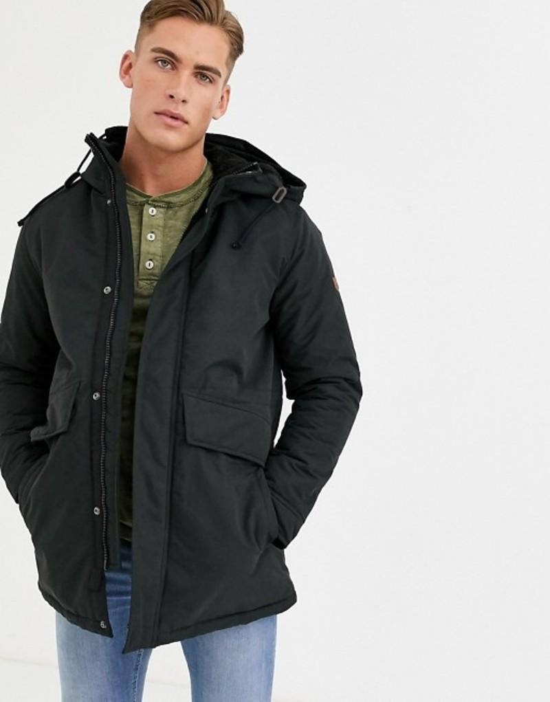 ジャック アンド ジョーンズ メンズ ジャケット・ブルゾン アウター Jack & Jones Premium hooded parka jacket in black Black