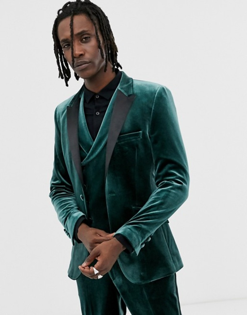 エイソス メンズ ジャケット・ブルゾン アウター ASOS DESIGN super skinny tuxedo jacket in forest green velvet Green