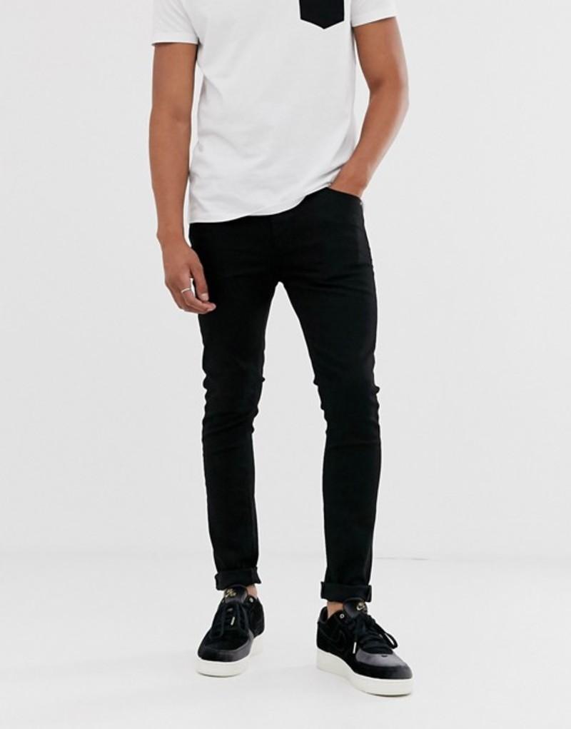 エイソス メンズ デニムパンツ ボトムス ASOS DESIGN super skinny jeans in black Black:ReVida 店