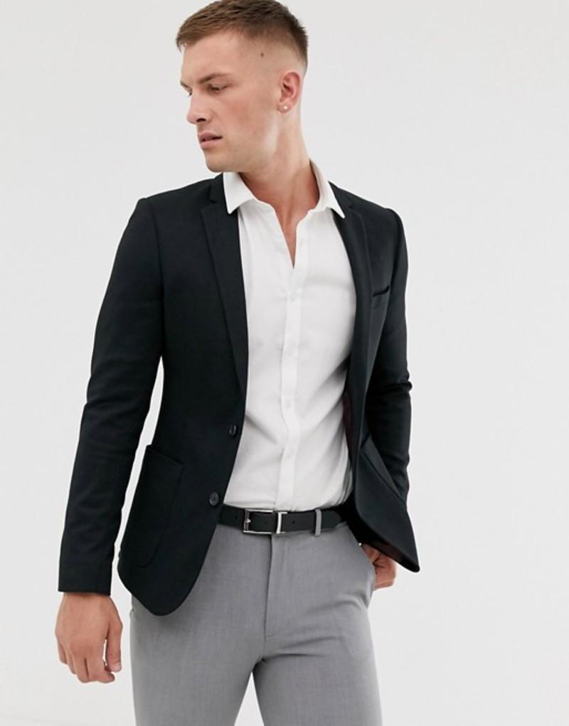 エイソス メンズ ジャケット・ブルゾン アウター ASOS DESIGN super skinny jersey blazer in black Black