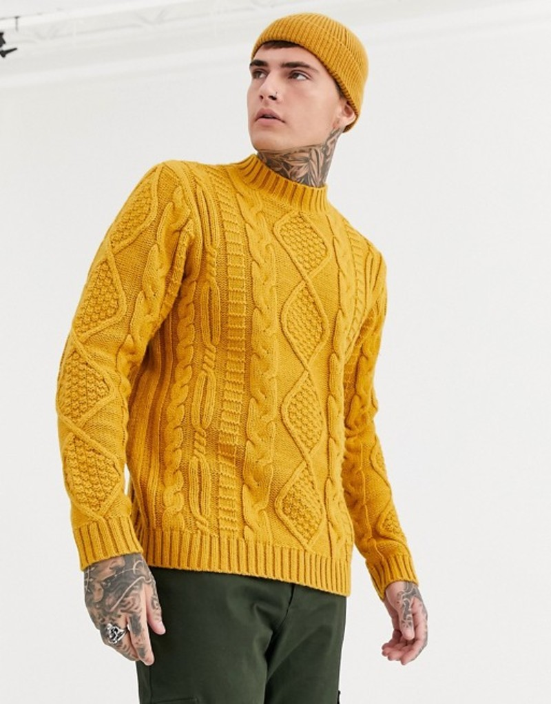 エイソス メンズ ニット・セーター アウター ASOS DESIGN heavyweight cable knit turtleneck sweater in mustard Mustard