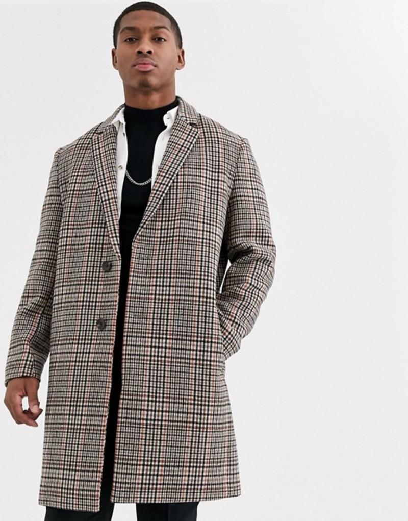 エイソス メンズ コート アウター ASOS DESIGN double breasted wool mix jacket in orange check Orange