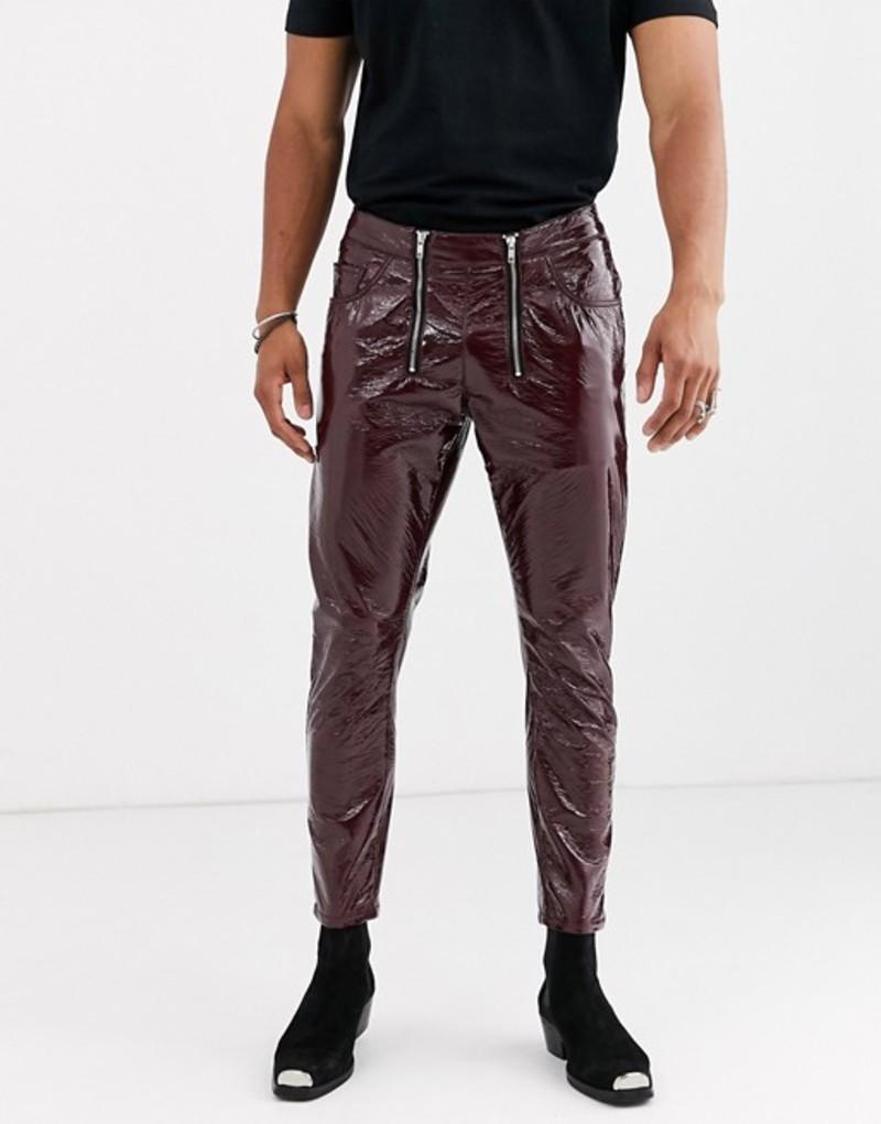 エイソス メンズ デニムパンツ ボトムス ASOS DESIGN slim jeans in burgundy vinyl with zip front Brown