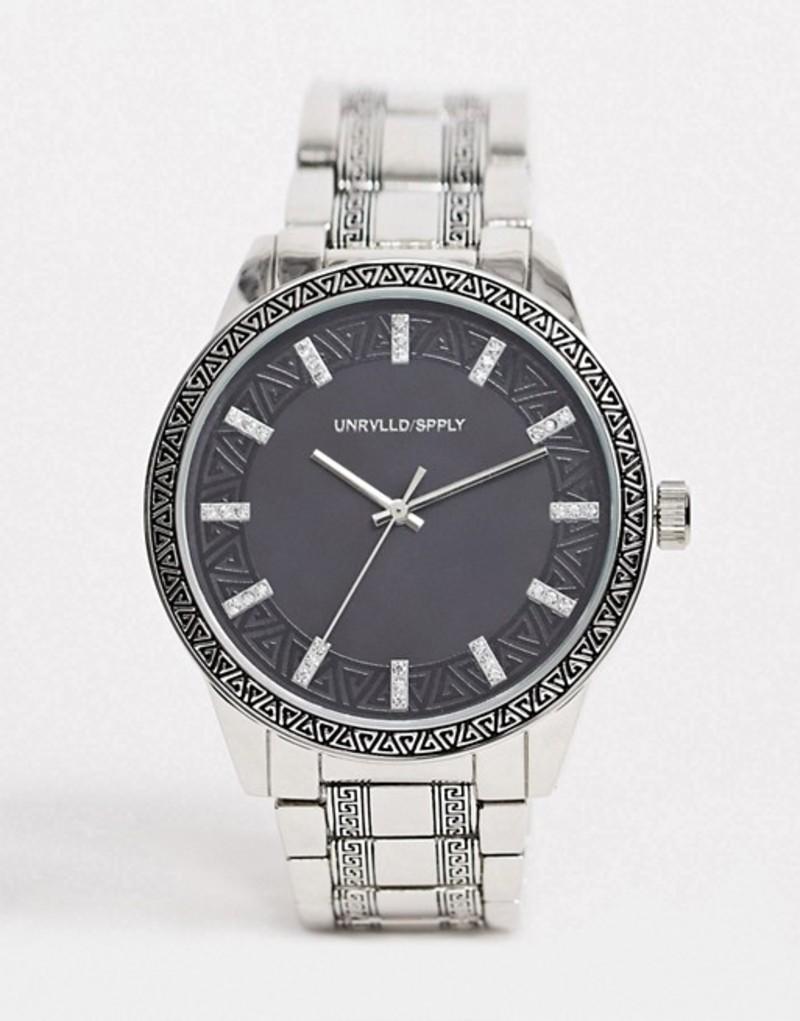 エイソス メンズ 腕時計 アクセサリー ASOS DESIGN bracelet watch with emboss detail in silver tone Silver