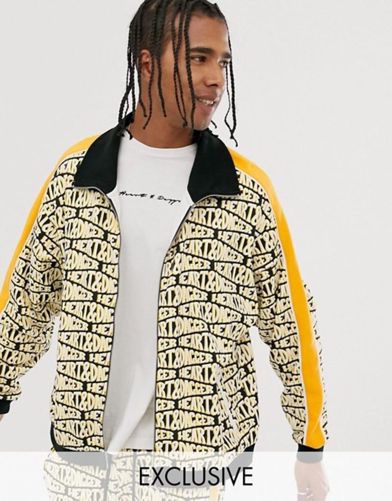 ハートアンドダガー メンズ ジャケット・ブルゾン アウター Heart & Dagger repeat logo print zip up jacket Yellow