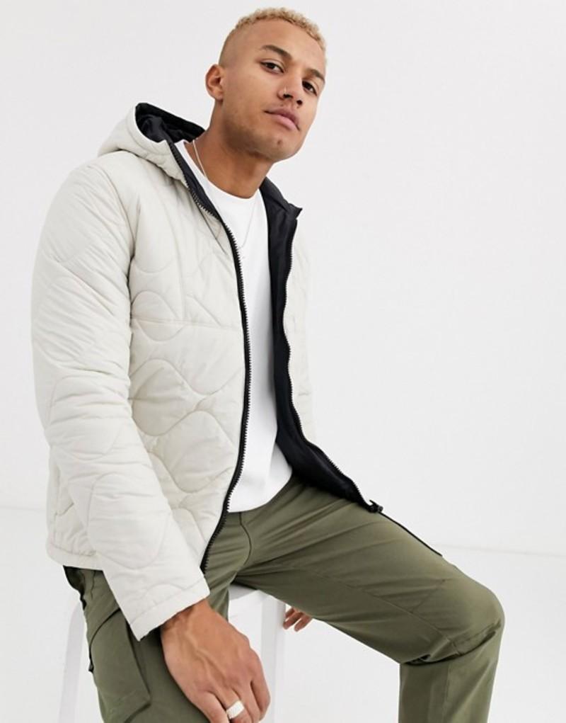 エイソス メンズ ジャケット・ブルゾン アウター ASOS DESIGN reversible quilted puffer jacket in white White