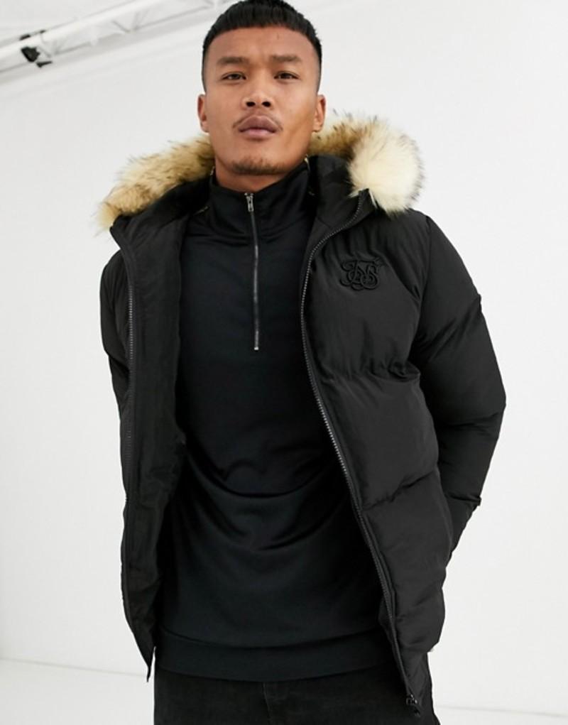 シックシルク メンズ コート アウター SikSilk puffer jacket in black with faux fur hood Black