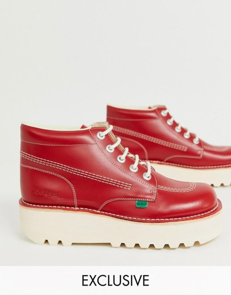 キッカーズ メンズ ブーツ・レインブーツ シューズ Kickers hi stack platform boots in red leather Red