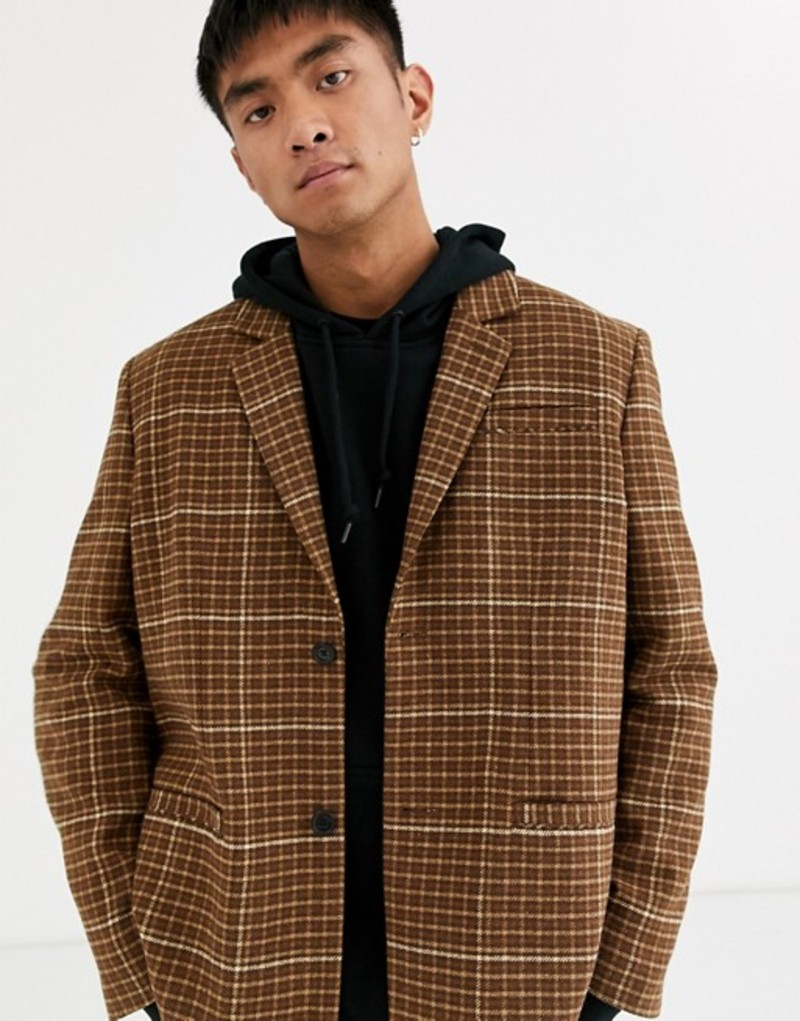 ウィークデイ メンズ ジャケット・ブルゾン アウター Weekday Filip Checked Suit Jacket Brown