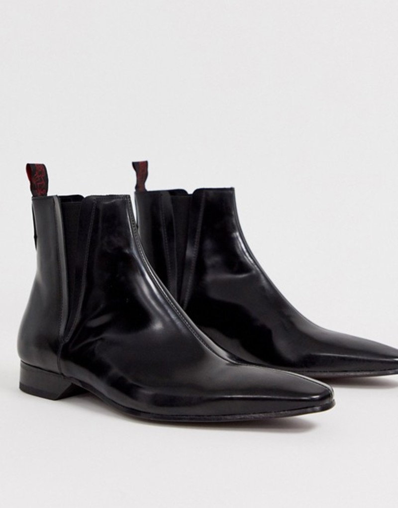 ジェフリーウェスト メンズ ブーツ・レインブーツ シューズ Jeffery West Escobar chelsea boot in black high shine leather BlackstQrhdC