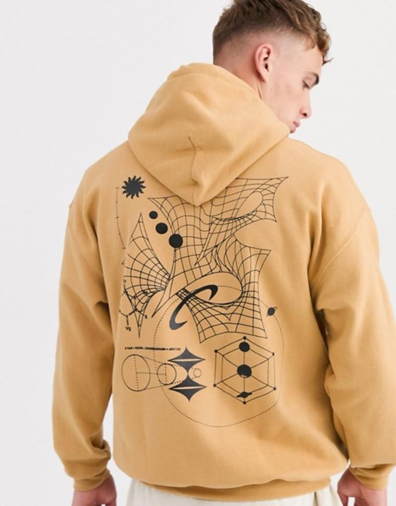 リクレイム ヴィンテージ メンズ パーカー・スウェット アウター Reclaimed Vintage oversized hoodie in stone with scribble print Stone