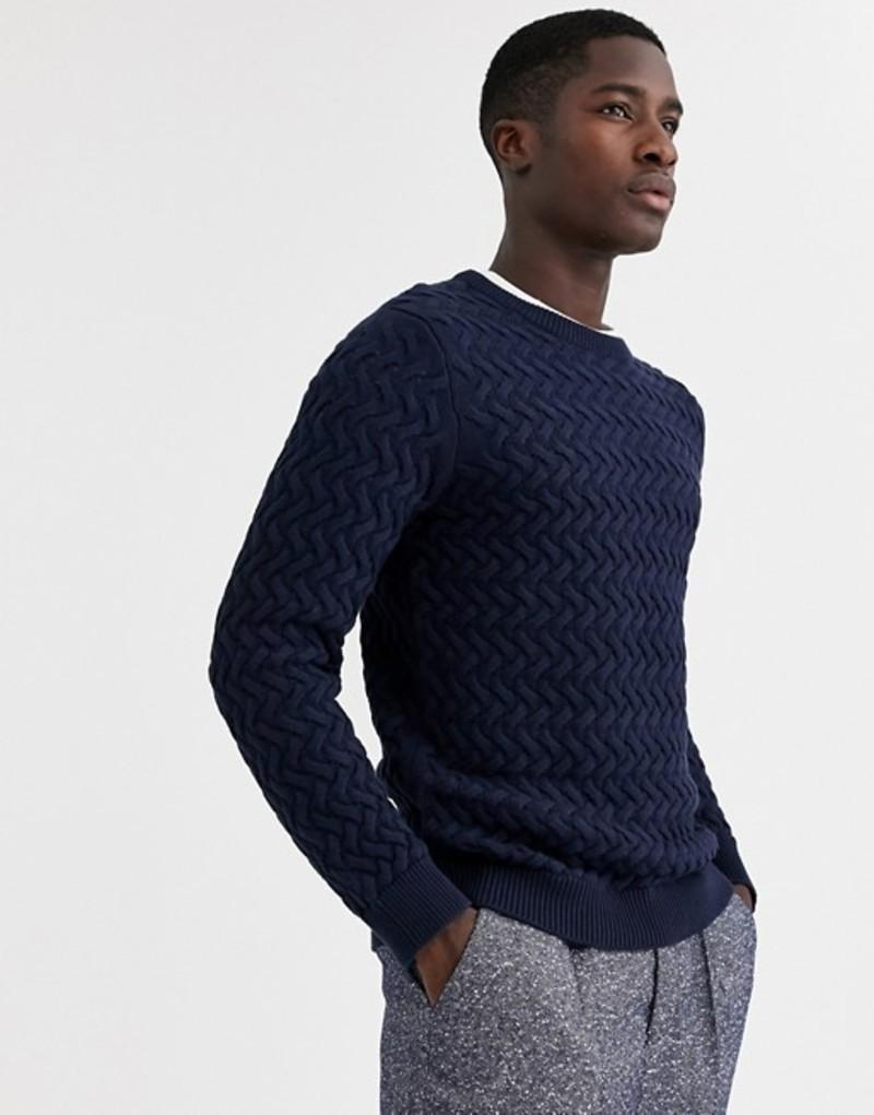 セレクテッドオム メンズ ニット・セーター アウター Selected Homme chunky cable knitted sweater in navy Navy