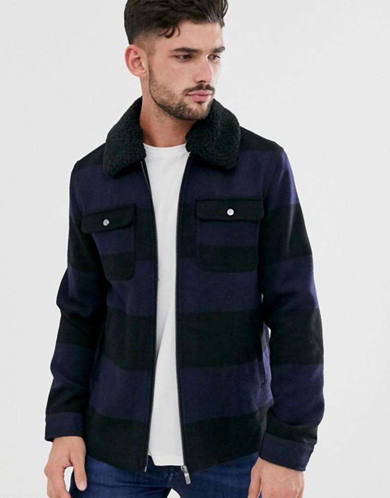 オンリーアンドサンズ メンズ ジャケット・ブルゾン アウター Only & Sons brushed check wool jacket with removable fleece collar Estate blue