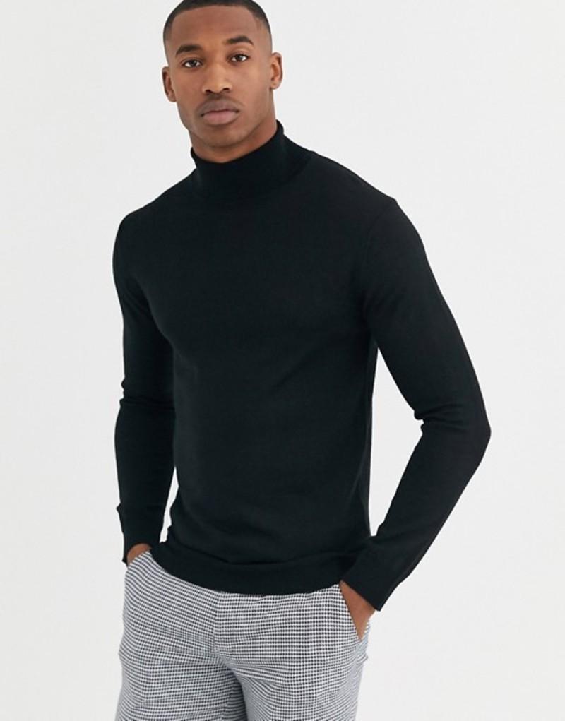 モス ブラザーズ メンズ ニット・セーター アウター Moss London merino roll neck sweater in black Black
